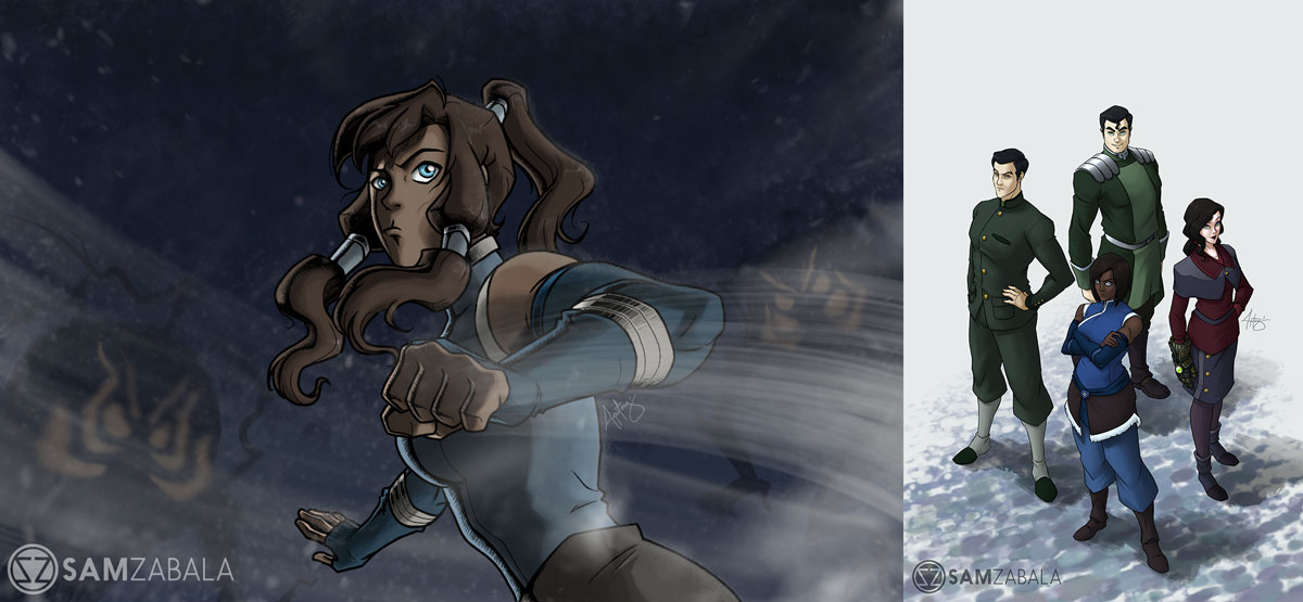 A portrait of Korra and another with her team