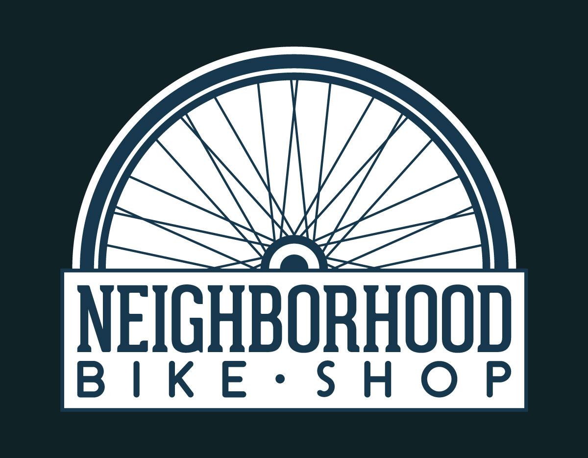 Neighborhood Bikeshop with a half bike wheel