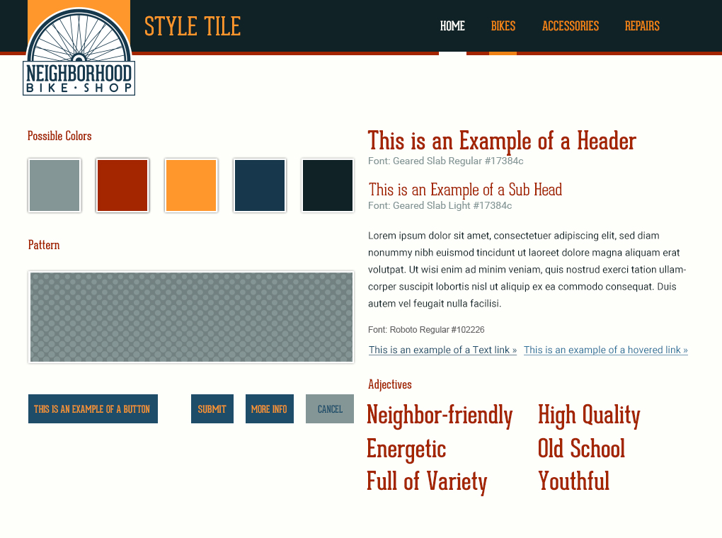 Style tile for the website displaying warm and cool colors